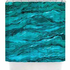 "East Urban Home Ebi Emporium Marble Idea! - Rich Jewel Tone Shower Curtain Color: Teal Aqua"" Aqua Blue"