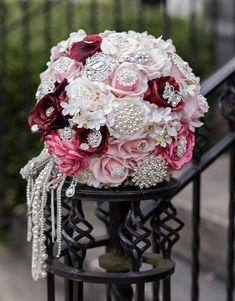 Brooch bridal bouquet in shades of pink. Bridal Brooch Bouquet, Shades, Crown, Flowers, Pink, Gifts, Jewelry, Fashion, Moda