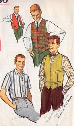 "1960s Men's Shirt, Vest and Reversible Vest Vintage Sewing Pattern, Mad Men, Office Fashion, Simplicity 4160 chest 42"""