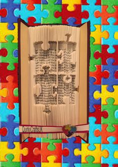 Autism Awareness Puzzle Piece - Cut and Fold method book folding pattern - 163 pages - Instant download plus FREE tutorial! by QuirkyCraftsUK on Etsy
