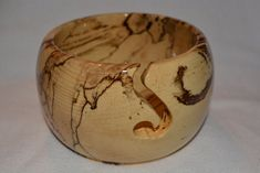 Beautiful Handmade Spalted Hackberry Wood Knitting Bowl