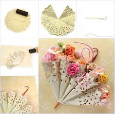 DIY Cute Mini Umbrella with Paper Doily It is great idea to make a greeting card with this cute mini umbrella inserted with flowers or other small gifts. Looks so different and delicate for those who love… Paper Doily Crafts, Doilies Crafts, Paper Doilies, Flower Crafts, Diy Paper, Small Umbrella, Mini Umbrella, Umbrella Cards, Umbrella Decorations