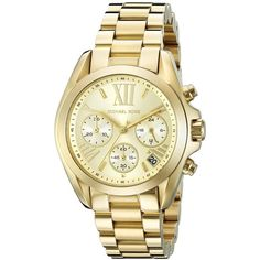 Michael Kors Bradshaw Gold-Tone Stainless Steel Watch ($213) ❤ liked on Polyvore featuring jewelry, watches, chronograph watches, chronograph watch, stainless steel wrist watch, roman numeral jewelry and michael kors watches