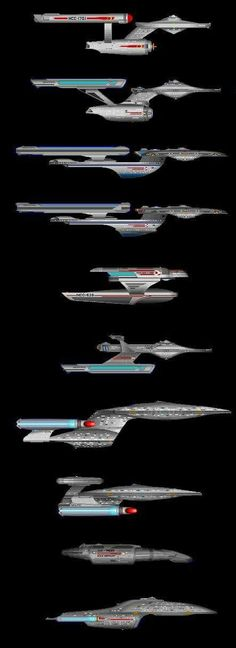 Star Trek: Various Federation starship types of early to the latest ship design of all Star Trek series.