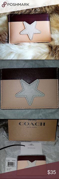 Authentic Coach Star Leather Cardholder Coach Star Cardholder in beige with white star and brown accents. Has two pockets on each side and a large pocket in the center. Comes in original cardboard Coach Box . This leather case is a fun way to organize business and credit cards. Minimalist alternative to a wallet keeps cards conveniently organized in a design slim enough to slip into a back pocket Coach Bags Wallets