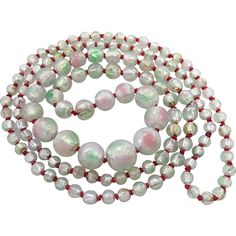 Art Deco Period Opalescent And Iridescent Foiled Glass Bead Rope Necklace 40-Inches