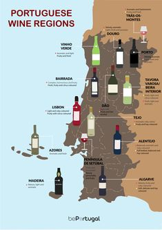 Portuguese Wine Regions Which are the best wine growing regions of Portugal and how much does a good wine cost? Read our handy guide and enjoy the best of Portuguese wines. Spain And Portugal, Portugal Travel, Saint Marin, Wine Tourism, Learn Portuguese, Wine Drinks, Beverages, Voyage Europe, Wine Parties