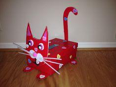 - Kitty Cat Valentine's Day exchange box. Valentine Boxes For School, Valentines Day Cat, Kinder Valentines, Valentine Day Crafts, Valentinstag Party, Projects For Kids, Crafts For Kids, Diy Valentine's Box, Cardboard Box Crafts