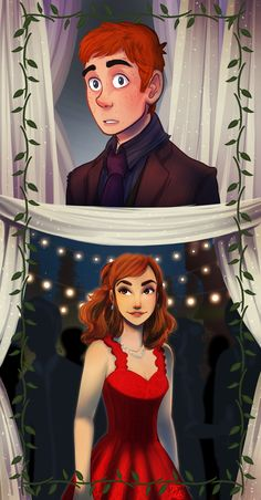Harry in disguise at Bill and Fleur's wedding and seeing Ginny. <<< This is cute but I thought it was Hermione. (in my defence her movie dress is red) Harry Potter World, Fanart Harry Potter, Images Harry Potter, Mundo Harry Potter, Harry Potter Artwork, Harry Potter Ships, Harry Potter Drawings, Harry Potter Books, Harry Potter Universal