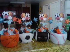 All Sports Baby Shower table centerpieces
