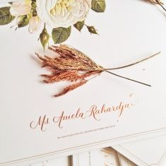 Lovely rustic wedding invitation, inspired by the falling season color | Project by Calligraphy by Connie Rie http://www.bridestory.com/calligraphy-connie-rie/projects/wedding-joel-and-daphne