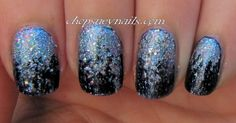 Blue and Silver Glitter Gradient Manicure for Take Two Nail Art Challenge Day 23