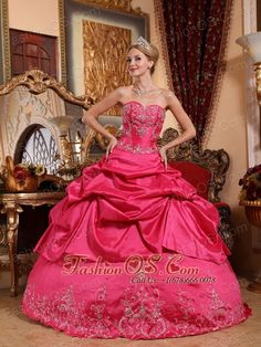 Impression Hot Pink Quinceanera Dress Sweetheart Taffeta Embroidery with Beading Ball Gown  http://www.fashionos.com  http://www.youtube.com/user/fashionoscom?feature=mhee   Are you joining in the party? Do you want to be the focus point, do you practice lone time? But now, the chance is coming, the moment good choice of dress is so importance.