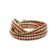 18k gold Jenny Bird Morgan Peach Wrap Bracelet $82. Other colors available.