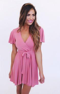 Dusty Rose Tie Waist Dress - Dottie Couture Boutique