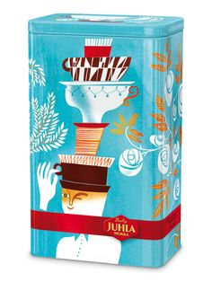 Juhla Mokka Design Tin 2010 By Sanna Mander Finland Business Illustration, Digital Illustration, Packaging Design, Branding Design, Computer Drawing, Tin Containers, World Of Color, Color Photography, My Coffee