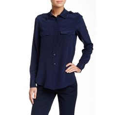 VINCE. Patch Pocket Long Sleeve Blouse ($120) ❤ liked on Polyvore featuring tops, blouses, coastal blue, silk blouses, vince tops, blue button up blouse, button front tops and button down tops