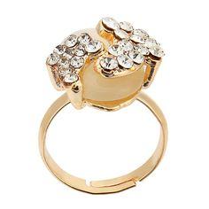 Sale 26% (3.55$) - Gold Plated Lovely Crystal Little Feet Alloy Opal Rings For Women