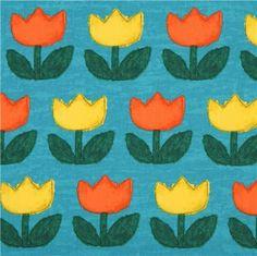 Toile turquoise-sarcelle avec des tulipes vertes, jaunes, orange