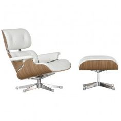This is the all white version of the Eames Lounge Chair and Ottoman