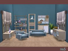 Cozy and useful furniture in retro style for your living room. The set includes 10 objects. Storages and sideboards have slots for your favorite clutter.  Found in TSR Category 'Sims 4 Living Room...