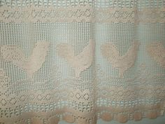 Crochet cafe curtain, Chicken Design, French Country, Country kitchen, Shabby Chic, Cozy Home. $10.00, via Etsy.