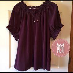 🎉HP🎉Cute plum colored top! Dressy plum colored top. Flowy. CJ banks Tops Blouses