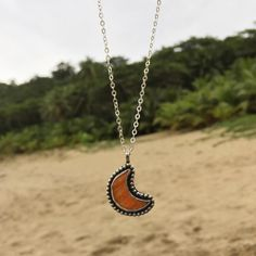 There's something about the moon... Taking one last look at this piece I made with an orange Atlantic thorny oyster shell I formed into the shape of the magical mystical moon. Looking forward to making more of these.