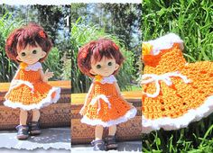 Crocheted dress on a doll Fairyland pukifee Luna bjd free Fairy Land, Bjd, Doll Clothes, Dolls, Trending Outfits, Yellow, Crochet, Unique Jewelry, Handmade Gifts