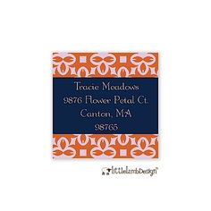 Rust and Navy Return Address Label designed by Little Lamb Design Return Address Stickers, Return Address Labels, Flower Petals, Label Design, Letter Board, Rust, Lamb, Pineapple, Coding