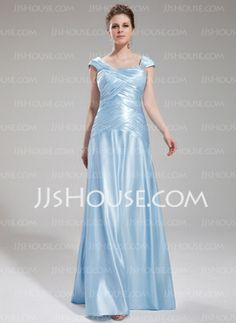 A-Line/Princess Square Necklin Floor-Length Charmeuse Evening Dress With Ruffle Beading (017019555) - JJsHouse