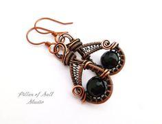 Wire wrapped earrings / black agate / wire wrapped jewelry handmade / woven wire jewelry / earthy antiqued copper jewelry / teardrop shape
