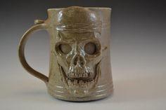 Skull Face Clay Drinking Mug -Handmade and Salt Kiln Fired