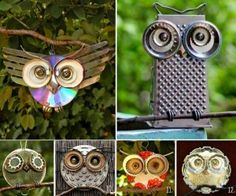 I love this!  Recycled Owl Art