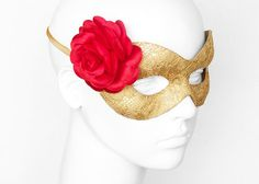 Gold Lace Masquerade Mask With Red Rose Decoration - Lace Covered Venetian Mask With Flower