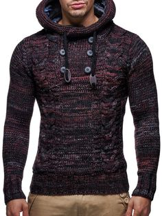 LEIF NELSON Men's Knitted Pullover Medium Red