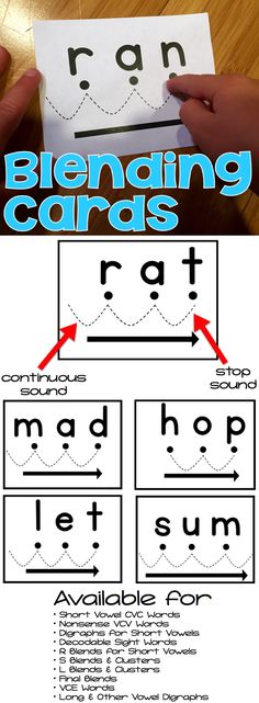 Blending Cards 1. Say the sounds - large dots 2. Blend the sounds - dotted lines 3. Say it fast - arrow