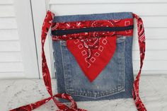 Vintage Denim and Red Bandana Cross Body Purse on Etsy, $15.00