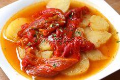Guiso de patatas con pimientos asados. Receta - Mercado Calabajío