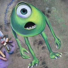 A movie starring Mike and the . A movie starring Mike and the . Chalk Drawings, Art Drawings, Pencil Drawings, Artsy Bilder, Chalk Design, Mike Wazowski, Sidewalk Chalk Art, Chalkboard Art, Disney Drawings