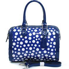 Womens Petite Glossy Polka Dot Fashion Satchel w/ Bonus Strap - Blue/White, $45