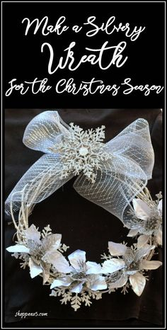A wreath on the door is a sign of welcome. And what better time than to make a silvery wreath for the Christmas season. Our countdown is ticking down. This is our day of the 12 Days of Christmas and yes it is all about wreaths. Christmas Door, Kids Christmas, Christmas Crafts, Christmas Decorations, Home Crafts, Fun Crafts, Xmas Wreaths, Winter Wreaths, Winter Home Decor
