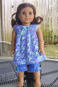"""Ravelry: Project Gallery for AMERICAN GIRL DOLL CREAM OF THE"""" CROPS"""" PJs OR PLAYTIME SETS pattern by Jacqueline Gibb"""