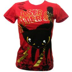 Newbreed Girl Laser Cat T-Shirt | Gothic Clothing | Emo clothing | Alternative clothing | Punk clothing - Chaotic Clothing