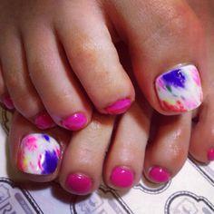 eriko919 toenails Cute Pedicure Designs, Pedicure Ideas, Manicure And Pedicure, Nail Ideas, Cute Toe Nails, Toe Nail Art, Love Nails, Pretty Nails, Cute Pedicures