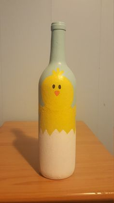Check out this item in my Etsy shop https://www.etsy.com/listing/505392395/chick-in-and-egg-wine-bottle