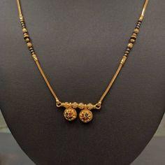 Meenakari design Mangalsutra with double wati Gold Ring Designs, Gold Bangles Design, Gold Earrings Designs, Gold Jewellery Design, Necklace Designs, Gold Chain Design, Gold Jewelry Simple, Gold Rings Jewelry, Jewelery