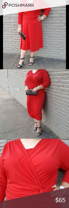 ♥Blair Flowy Red Dress♥ Hi Poshers! I'm selling this Gorgeous Blair red dress! Model is about 5'7 and wears a 20-22 it's 95% polyester and 5% spandex. Clutch is also listed in my closet 😊 Blair Dresses