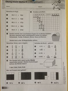 Sample of a German 4th grade worksheet - Evil Math Wizard