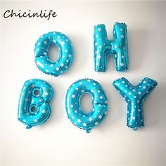 """Chicinlife """"oh boy/boy"""" letters Foil Balloon Boy Baby Shower Decoration Boy Birthday Party Supplies"""